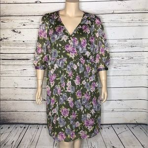Redoute Creation 24W Floral Surplice Peasant Dress
